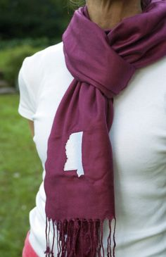 Maroon Mississippi Scarf