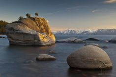 """""""bucket list"""" .. So pretty with the mountains in the background!!  Bonzai Rock, Sand Harbor, Lake Tahoe, Nevada"""