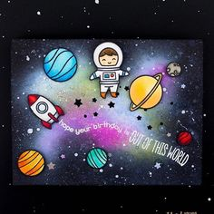 Happy Saturday! Our friend Taheerah joins us today for her second awesome guest post on the blog, yay! Just look at that amazing background she created; those gorgeous colors appear to be glowing! Blog link in profile. #lawnfawn #outofthisworld @taheerah_atchia #cardmaking