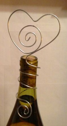 15 Bottle topper wire heart for parties, weddings, holds table nubers. | bitspeaces - Wedding on ArtFire