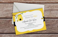 Mother To Bee Baby Shower Invitation  Polka by PaperCannonDesigns