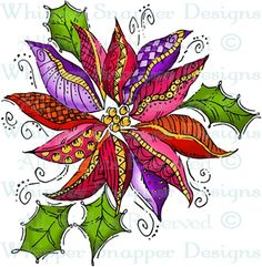 Elegant Poinsettia - Christmas Images - Christmas - Rubber Stamps