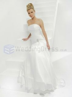 A-line Chiffon Ruched Bodice Strapless Neckline Sweep Train Wedding Dresses