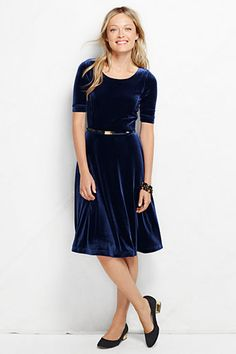 Lands' End Women's Elbow Sleeve Boatneck Velvet Dress Was: 59.00$ Now: 34.99$