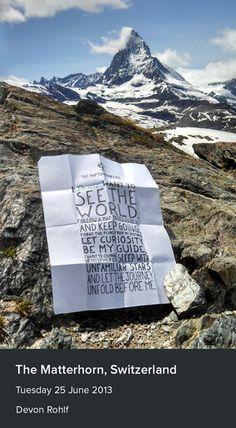 A stunning manifesto from Devon Rohlf, taken near the Matterhorn, Switzerland.