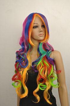 26.00$ (Buy here - https://alitems.com/g/1e8d114494b01f4c715516525dc3e8/?i=5&ulp=https%3A%2F%2Fwww.aliexpress.com%2Fitem%2FFashion-Women-Rainbow-Long-Curly-Hair-Full-Cosplay-Party-Wig-Cap%2F32651099281.html) Fashion Women Rainbow Long Curly Hair Full Cosplay Party Wig   Cap