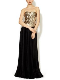Marchesa Couture Silk Jeweled Accordion Gown $2430