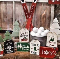 Set of 6 Christmas Tag Sign Stencils Christmas Craft Show, Christmas Wood Crafts, Christmas Stencils, Rustic Christmas, Christmas Projects, Holiday Crafts, Christmas Holidays, Christmas Decorations, Christmas Ornaments