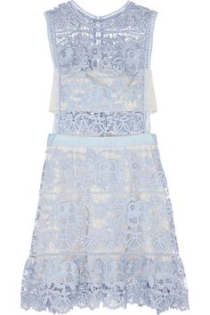 Powder-blue guipure lace Button-fastening keyhole and zip fastening at back  100% polyester; lining: 65% rayon, 35% polyurethane  Hand wash