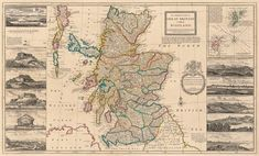 Old illustrated map of Scotland from 1714. Vintage Wall Art, Vintage World Maps, Scotland Map, Tv Covers, Edinburgh Castle, Old Maps, Cartography, Great Britain, Canvas Prints