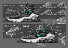 SOME EARLY SKETCHES on Behance Futuristic Shoes, Sneakers Sketch, Photoshop Rendering, Sell Shoes, Funny Baby Memes, Shoe Sketches, Nike Boots, Mens Skechers, Industrial Design Sketch