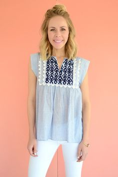 Hartley Blue Embroidered Peasant Top by THML Clothing from Page 6 Boutique