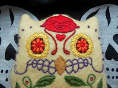 Day of the dead style owl, pdf pattern.  #embroidery