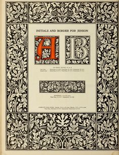 The manual of linotype typography, prepared to aid users and producers of printing in securing greater unity and real beauty in the printed page; Illuminated Letters, Illuminated Manuscript, Monochromatic Art, William Morris Art, Drawing Frames, Alphabet Art, Beautiful Fonts, Book Layout, Initial Letters