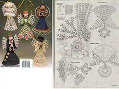 Angeli Christmas Charts, Crochet Christmas Ornaments, Christmas Crochet Patterns, Holiday Crochet, Crochet Snowflakes, Christmas Angels, Crochet Angel Pattern, Crochet Angels, Crochet Art