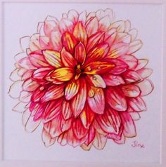 Watercolor Painting Original Pink Dahlia by by TheElegantBloom, $425.00 NOW FRAMED ORIGINAL ON SALE 25% OFF REG PRICE 425.00 SALE PRICE 316.00 Use COUPON CODE W1A2TER PRINTS NOW AVAILABLE contact the artist.  Prints $10.50 plus $3.00 shipping
