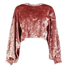 Boohoo Amy Velvet Balloon Sleeve Crop Sweat ❤ liked on Polyvore featuring tops, hoodies, sweatshirts, bralet tops, red crop top, velvet crop top, red polka dot top and bralette crop top