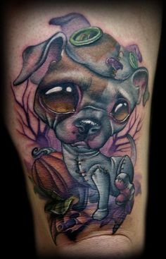 Dog in Dog Costume tattoo, Kelly Doty