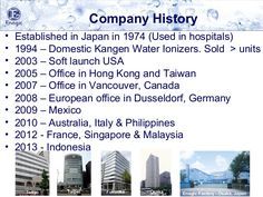 Company History • Established in Japan in 1974 (Used in hospitals) • 1994 – Domestic Kangen Water Ionizers. Sold > units • 2003 – Soft launch USA • 2005 ...