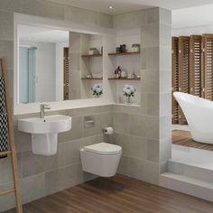 Small Luxury Bathrooms, Small Bathroom Interior, Grey Bathroom Tiles, Bathroom Tile Designs, Small Bathroom Makeovers, Narrow Bathroom, Family Bathroom, Downstairs Bathroom, Bathroom Wall