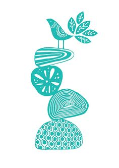 Decorative Bird on Printed Pebbles in Sea Green  by sugarloop