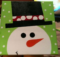 12X12 Christmas/Snowman Hand Painted by CraftyMamasCreations, $20.00