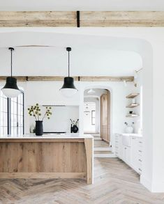 Home Interior Modern .Home Interior Modern Wood Kitchen Island, Kitchen Islands, Space Kitchen, Kitchen Layout, Kitchen With Living Room, Natural Kitchen Cabinets, Wood Islands, Black Kitchen Cabinets, Kitchen Island With Seating