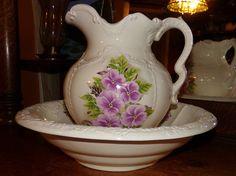 RP: Antique Vintage LG Pink Purple Flowers Porcelain Pitcher Wash Basin | eBay.com