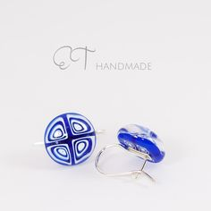 Blue and white geometrical grafic Murano glass and Sterling Silver italian artisan handmade earrings - pinned by pin4etsy.com