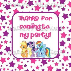My Little Pony Friendship is Magic 2 Inch Square Favor/Goodie Bag Tags - Instant Download - PDF