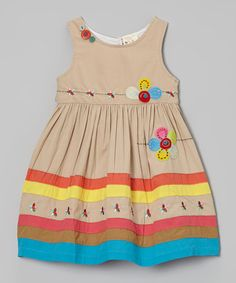Take a look at this Khaki Flower Appliqué Dress - Infant, Toddler & Girls by the Silly Sissy on #zulily today!