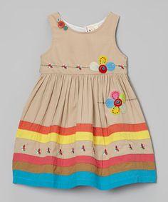 Loving this Khaki Flower Appliqué Dress - Infant, Toddler & Girls on #zulily! #zulilyfinds