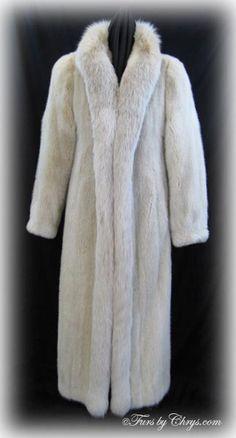 Long Blush Mink and Fox Coat Mink Coats, Mink Fur, Fox Coat, Lynx, Shoulder Pads, Tuxedo, Evans, Cuff Bracelets, Cuffs