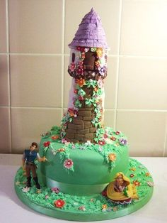 Looking for cake decorating project inspiration? Check out Rapunzel Cake by member - via Rapunzel Torte, Rapunzel Birthday Cake, Tangled Birthday Party, 4th Birthday Cakes, Tangled Rapunzel, Disney Tangled, Disney Frozen, Tangled Castle, Tangled Tower