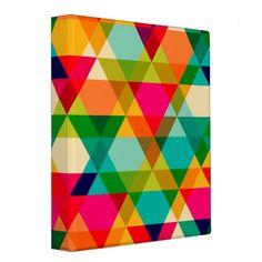 Fun Colorful Bright Geometric Triangle Pattern 3 Ring Binder Custom Office Party #office #partyplanning