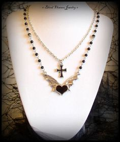 DEMON HEART Gothic Bat Winged Antique Silver Black Heart & Cross Layered Beaded Necklace .com/