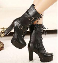 Stylish Black Punk Rock Style Chunky Heel Boots