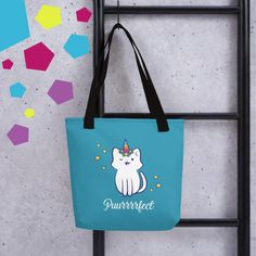 A spacious and trendy tote bag to help you carry around everything that matters. Unicorn Illustration, Bring It On, Reusable Tote Bags, Joy, Colorful, Happy, Blue, Glee, Ser Feliz