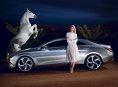 Karlie Kloss and a grey stunt horse for Mercedez-Benz FW 2013 by Ryan McGinley.