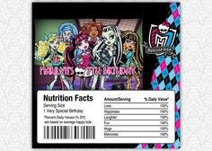 Monster High Birthday Candy Bar or Chocolate Bar Wrappers. $3.50, via Etsy.