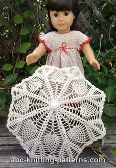 American Girl Doll Parasol - free crochet pattern from ABC Knitting Crochet Doll Dress, Crochet Doll Clothes, Doll Clothes Patterns, Doll Patterns, Crochet Dolls Free Patterns, Crochet Doll Pattern, Free Crochet, Knitting Patterns, Crochet Designs