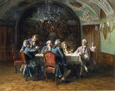 Johann Hamza - A good dinner A4 Poster, Poster Prints, Post Impressionism Art, Academic Art, European Paintings, Rococo Style, Oil Painting Reproductions, Vintage Artwork, Modern Art