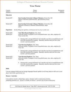 resume format recent college graduate resumeformat