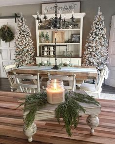 farmhouse christmas, rustic holiday style, flocked Christmas trees, natural Christmas decorations, Holiday decorating ideas