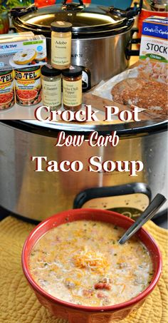 Low Carb taco soup is perfect for people on low-carb or keto diets or who need gluten-free recipes. This crock pot low-carb taco soup recipe is so good it is sure to be loved regardless of if you are on a diet or not. Low Carb Taco Soup, Low Carb Tacos, Low Carb Diet, Keto Soup, Easy Taco Soup, Low Carb Soups, Healthy Taco Soup, Keto Taco Salad, Easy Healthy Soup Recipes