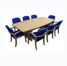 New 2.4m x 1.2m Beech Boardroom Table With 8 Used Wallis Blue Meeting Chairs