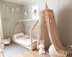 Gorgeous blush and grey girl's room.