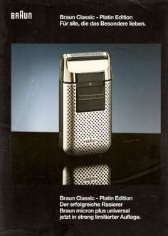 Flyer for a special limited edition platinum version of Braun's Micron Plus Universal electric shaver by Roland Ullmann, 1994 The standard model was originally released in 1982.