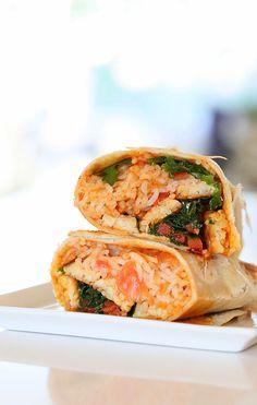 Spanish Rice, Buffalo Tempeh, Kale, Bell Pepper Wraps. Vegan Mofo Recipe - Vegan Richa