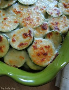 Italian Cheese Scalloped Zucchini, layers of fresh zucchini and summer squash baked in an Italian cream sauce until browned and bubbly.